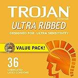 Trojan Ultra Ribbed Premium Lubricated Condoms - 36 Count