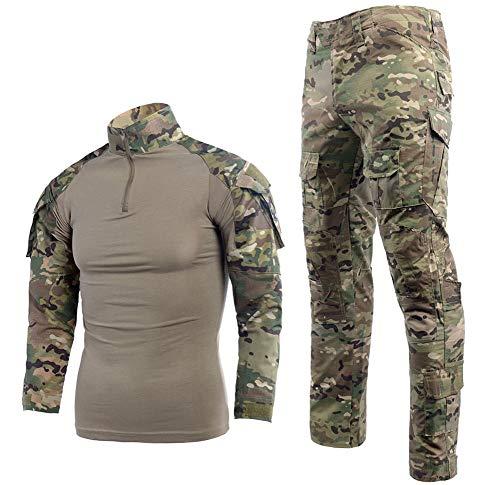 Juego de camiseta y pantalones tácticos de combate para hombre, manga larga, de ripstop, uniforme militar de caza multicam, Comando Supremo de Submarinos y Bosques, para Airsoft