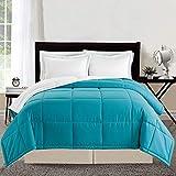 Grand Linen 3 Piece Luxury Turquoise Blue/White Reversible Goose Down Alternative Comforter Set, Full/Queen Duvet Insert