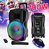 Enceinte sono DJ PARTY KARAOKE 700W Batterie Disco Mobile 12' à LED RGB...