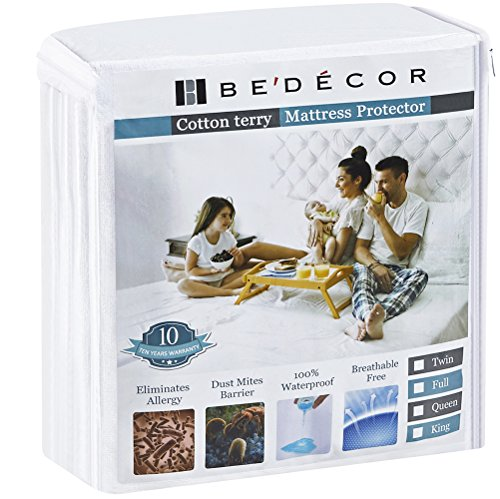 Bedecor King Size Waterproof Mattress Protector - Breathable Noiseless and Hypoallergenic - Premium Fitted Cotton Terry Cover