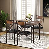 P PURLOVE 5-Piece Kitchen Table Set with 4 Chairs,Kitchen and Dining Room Table Set,Metal Frame and Wood Tabletop Table Set for Dining Room, Kitchen