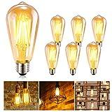 Ampoule LED Edison GolWof Lot de 6 Ampoule Edison Vintage E27 ST64 6W 2500K...