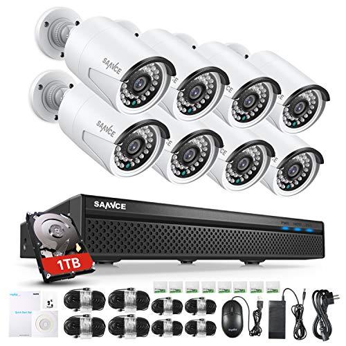 SANNCE POE Kit 8 Telecamere 5MP POE NVR 8 Canali 8 POE Camera Videosorveglianza 1080P Cloud Storage IP66 IR Telecamere Sorveglianza Allarm Visione Notturna 1TB HDD