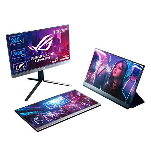 ASUS ROG Strix XG17AHP Gaming Monitor Portatile USB-C 17.3'IPS FullHD, 1920x1080,240Hz,Adaptive-sync,USB-C, Micro-HDMI, Batteria Integrata, camera, console, ROG Tripod, ROG Bag, Smart cover, Eye care