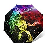 DOWNN Paraguas automático triple plegable 3D con estampado exterior de fantasía de unicornio, impermeable, resistente al viento, duradero, plegable, para hombre y mujer al aire libre