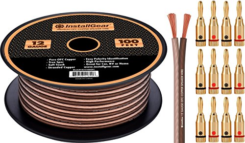InstallGear 12 Gauge Speaker Wire - 99.9% Oxygen-Free Copper with 12 Banana Plugs (100-feet)