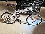 24 inch Folding Mountain Bike for Men/Women 21 Speed Adults Bicycle Dual Disc Brake Shock Absorber Front Suspension Fork, 3 Knife Wheel (White)