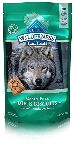 Blue Buffalo Wilderness Trail Treats High Protein Grain Free Crunchy Dog Treats Biscuits, Duck Recipe 10-oz Bag