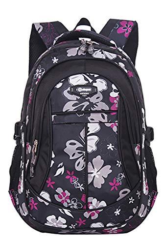 JiaYou Girl Flower Printed Primary Junior High University School Bag Bookbag Backpack(1# Black,24 L)