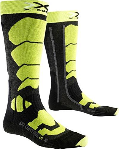 X-Socks Ski Control 2.0, Calze Uomo, Antracite/Verde Lime, 35/38