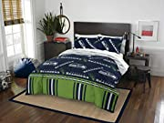 """Features a repeating print of team name and logos on the comforter and pillowcase, on a team-colored background Set comes with 1 comforter, 1 flat sheet, 1 fitted sheet and 2 pillowcases Comforter measures 86""""W x 86""""L; Flat Sheet measures 90""""W x 102""""..."""