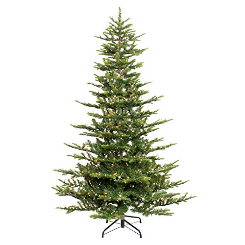 Puleo International 7.5 Foot Pre-Lit Aspen Fir Artificial Christmas Tree with 700 UL Listed Clear Lights Green