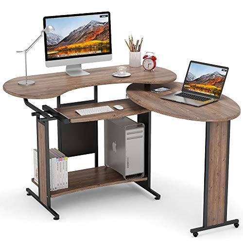 L-Shaped Computer Desk, LITTLE TREE Rotating Corner Desk & Modern...