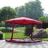 SKYLLPATION Premium Grand Moustiquaire de Parasol de Jardin, Moustiquaire pour Parasol avec Fermeture éclair,Red