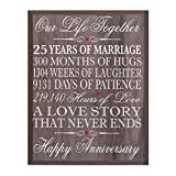 LifeSong Milestones 25th Wedding Anniversary Wall Plaque Gifts for Couple, 25th for Her,25th Wedding Silver Ideas for Him 12' W X 15' H Wall Plaque (Salt Oak)