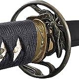 Handmade Sword - Fully Practical Samurai Katana Sword, Dragonfly Tsuba, 1080 Carbon Steel, Hand Forged Heat Tempered, Full Tang, Sharp, Certificate, Black Scabbard