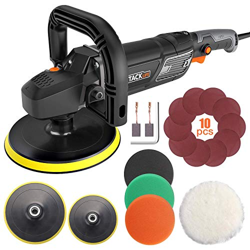Polisher, TACKLIFE Buffer Polisher 7-Inch/6-Inch 12.5Amp, With 6 Variable Speeds, Digital Screen, Lock Switch, Detachable Handle, Ideal For Car Sanding, Polishing, Waxing, Sealing Glaze - PPGJ01A