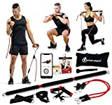 INTENT SPORTS Portable Home Gym – Dynamic Total Body Workout Package with Resistance Bands, Collapsible Bar, Straps, Handles – Strength Training for Home, Travel, Exercise Videos (Patent Pending)