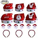 Kits Chapeaux Noël Bonnet de Père Mère Santa avec Serre-têtes pour Adulte /...