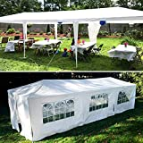 10'x30' Party Tent Outdoor Canopy, Wedding Tent Storage Shelter Pavilion UV-Proof Grill Gazebo for BBQ Beach Event with 8 Sidewalls & 2 Zipped Doors, Not for Rainy or Windy Days- White