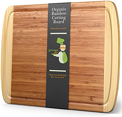 """XL Bamboo Cutting Board - Lifetime Replacement Wood Cutting Board - 18 x 12.5"""" - Organic Chopping Board for Meat and Vegetables - Extra Large Cutting Board Wood - Wooden Cutting Boards for Kitchen"""