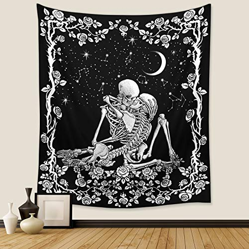 Wonrizon The Kissing Lovers Skull Tapestry,Black and White Romantic...