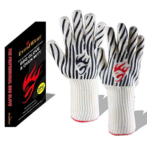 Evridwear 932°F Extreme Heat and Cut Resistant BBQ Gloves Oven Mitts Non-Slip Silicone Coated Pot Holders for Cooking Baking Grilling Camping Fireplace and Microwave (Extended Cuff Zebra)