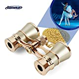 Aomekie Opera Glasses Binoculars 3X25 Theater Glasses Mini Binocular Compact with Chain for Adults Women Kids in Musical Concert(Gold)