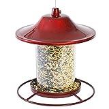 Perky-Pet Mangeoire à oiseaux Panorama rouge éclatant - Lanterne anti-écureuil avec toit de protection et perchoir circulaire - Capacité max. 900g de graines  #312R