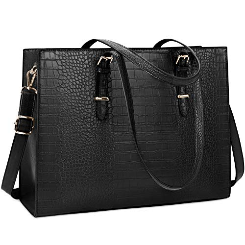 51s75moM+oL Durable & Classy Women Laptop Bag:Lubardy tote bag made of prime crocodile pattern leather and polyester lining,offers water-repellent scratch-resistant advantage, trimmed with contrasting antique gold-toned hardware that conveys a classic chic fashion look and feel. The on-trend and easy matching colors will bring instantaneous modernity and freshness to any outfit. In addition,metal feet base protects your bag from damage. Large Capacity Design: Women computer bag divided into three sections,1 main padded pocket design for 15.6 inch laptop,and 1 iPad pocket provide a thick padded foam section with a velcro strap closure to fully protect your laptop against accidental impacts and scratches,2 open big pockets for documents and books.1 large zipped pocket for your private belongings,2 slip pockets and 2 pens pockets, and 1 small zipper pocket for stock your ID card and wallet etc. One Bag Fits all Occasion: The Women Briefcase features handle and shoulder strap, both of them are adjustable and detachable, which makes it a multi-purpose laptop bag. Use it as tote bag, computer bag, school shoulder bag, handbag, business work bag whenever you like.It's perfect for work, office, school, shopping, business trip, travel and outdoors .