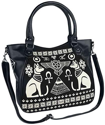 Banned Alternative Anubis Frauen Handtasche schwarz/weiß, Baumwolle, Polyurethan, Gothic, Rockwear