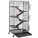 Yaheetech Grande Cage pour Rongeurs/Rats/Furets/écureuils/Chinchillas - 6 Niveaux 64 x 44 x 131 cm Noir