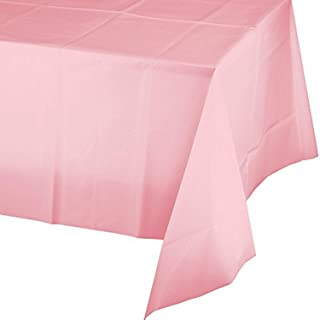 Creative Converting Touch of Color Plastic Table Cover, 54 by 108-Inch, Classic Pink