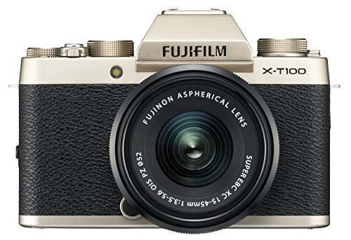 Fujifilm X-T100 24.2 MP Mirrorless Camera with XC 15-45 mm Lens (APS-C Sensor, Electronic Viewfinder, Face/Eye Detection, 3' 3-Way Tilting Touchscreen, 4K Video, Vlogging, Film Simulation Modes) - Champagne Gold