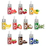 Nomeca Food Flavoring Oil Candy Flavors, Strawberry Vanilla Coconut Cherry Extracts for Baking Cooking and Lip Gloss Making - Water & Oil Soluble - .17 Fl Oz (5 ml) Bottle with Dropper (Pack of 10)