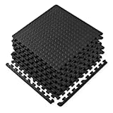 Gaiam Essentials Interlocking Exercise Mat, Square Puzzle Foam Tiles Home Gym Fitness Mat Workout Flooring, Multi-Purpose Use in Garage, Basement, Kids/Baby Play Areas, 23.5' x 23.5' x 0.48' Thick