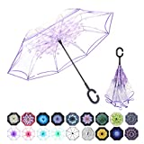 WASING Double Layer Inverted Umbrella Cars Reverse Umbrella, Windproof UV Protection Big Straight...