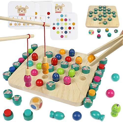 Giochi Montessori di Pesca Memory Scacchi Gioco per Bambini 4 in 1 Giochi da Tavolo in Legno con 8 Carta Giocattolo Giochi Educativi Regalo per Bambini Bambina 3 4 5 6 Anni