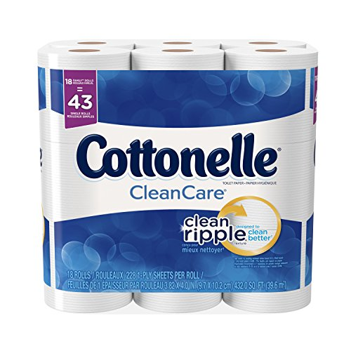 Cottonelle CleanCare Family Roll + Toilet Paper, Bath Tissue, 18 Toilet Paper Rolls