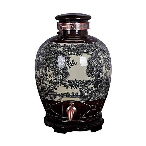 DHR- Botte di vino con rubinetto in acciaio inossidabile Barattoli in ceramica sigillati for uso...