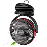 KEYNICE Battery Operated Fan with Hanging Hook, Portable Camping Fan with Night Light, 4 Speeds, Sturdy Clamp, 360° Rotation, Clip Fan for Hurricane Emergency Tent Treadmill Car Golf Cart