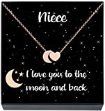 Gifts for Niece I Love You to The Moon and Back Heart & Moon Pendant Necklace, Stocking Stuffers Christmas Jewelry Gifts for Girls Women, Birthday Gifts from Aunt Uncle (Rose Gold Tone)