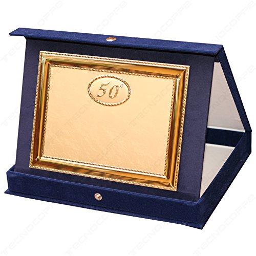 tecnocoppe Targa in Alluminio 50 Anniversario Matrimonio Nozze d'oro, 50 Anni, con Astuccio e Stampa Personalizzata
