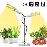 JEVDES Lmpara de Plantas, 50W Planta de luz para Plantas de Interior, LED Lmpara de Crecimiento de Planta de Espectro Completo Similar al Sol para plntulas Floracin fructfera