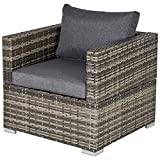 Outsunny Outdoor Patio Furniture Single Rattan Sofa Chair Padded Cushion All Weather for Garden Poolside Balcony Deep Grey