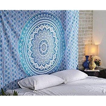 Tapestry regina verde Ombre Hippie Arazzo Mandala Bohemian psichedelico intricato indiano copriletto 233,7 x 208,3 cm Aakriti Gallery (Blue)