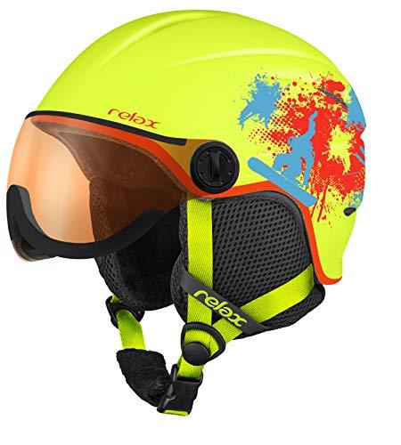 Relax Kinder Skihelm Twister mit Visier | Snowboardhelm | Skihelmet | Race-Helm für Mädchen und Jungen (Neongelb/Rot/blau,XS (49-52cm)