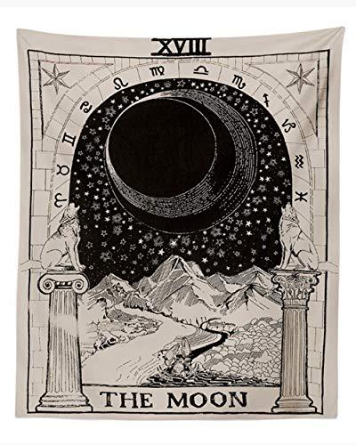 Tapiz 'Tarot' de Amknn, con imagen de la luna, las estrellas y el sol; para colgar en la pared
