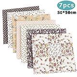 Travistar 7 Piezas 50 x 50cm Tela de Algodón Patchwork Paquete de tela de Flores patrón Floral de...